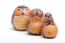 "Gourd Owl Set of Three 3.5"" Hand Carved Fair Trade Peru"