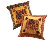 India Balmeri Elephant Cushion Cover Red Fair Trade Product